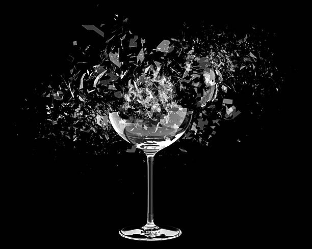 3d render Breaking wine glass on black stock photo