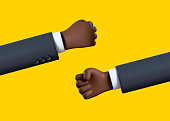 3d render, cartoon character businessman hand, african man palm is clenched into a fist, clip art isolated on yellow background