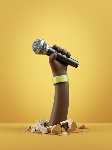 3d render, cartoon character dark skin tone hand holds microphone. Rock concert clip art isolated on yellow background