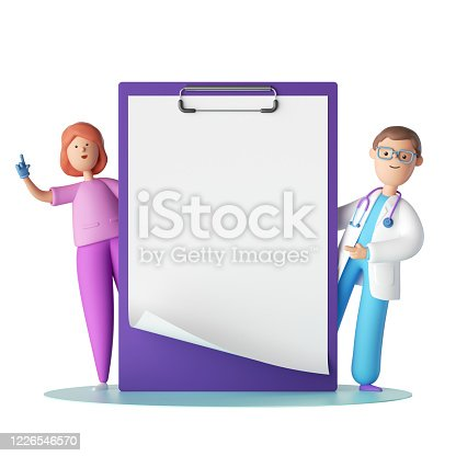 istock 3d render. Cartoon characters doctor and nurse near the big clipboard with blank page. Copy space. Clip art isolated on white background. Professional consultation. Receipt mockup. Medical concept 1226546570