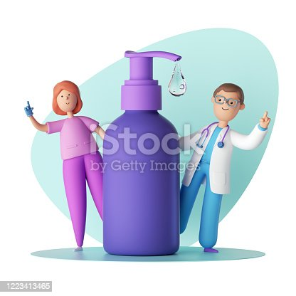istock 3d render. Cartoon characters doctor and nurse stand near the big dispenser jar. Blank violet cosmetic container mockup with falling liquid drop of hand sanitizer, liquid soap, facial cleansing gel 1223413465