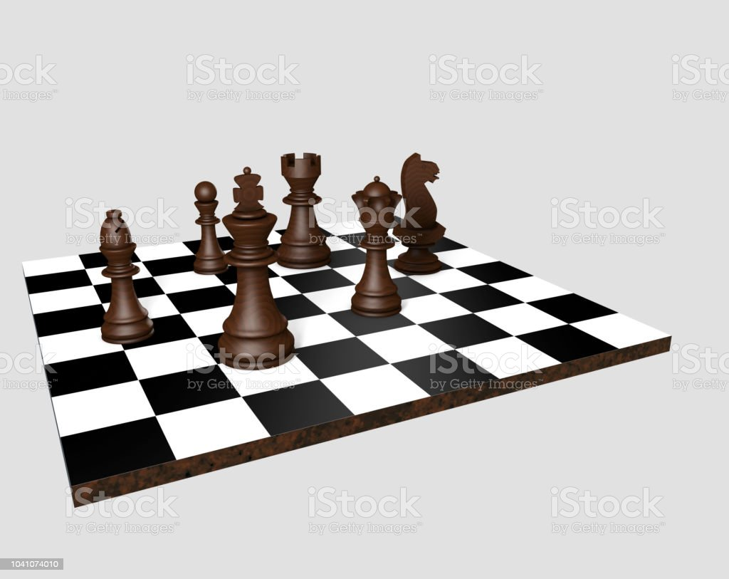 3d render. Chess board with figures stock photo