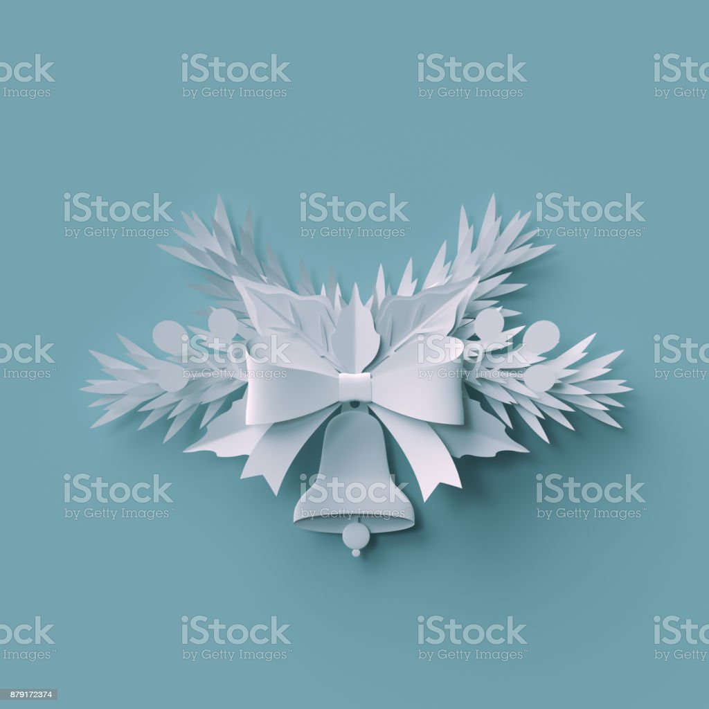 3d render, Christmas background, white paper bell, fir tree holiday decoration, festive elements, greeting card stock photo