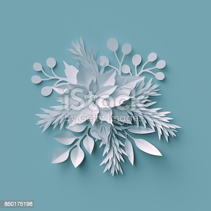 istock 3d render, Christmas background, white paper cut, festive elements, holiday decoration, greeting card 850175198