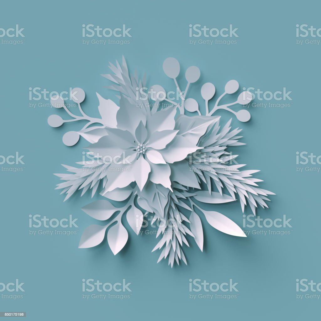 3d render, Christmas background, white paper cut, festive elements, holiday decoration, greeting card stock photo