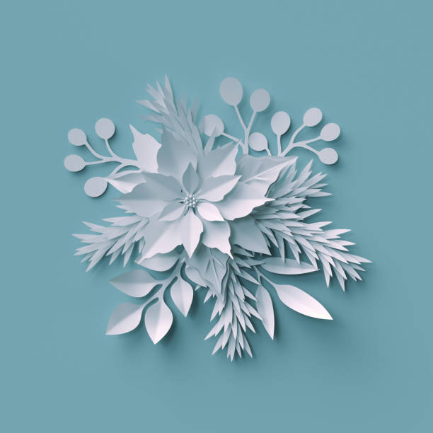 3d render, Christmas background, white paper cut, festive elements, holiday decoration, greeting card - foto stock