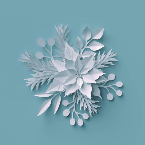 3d render, weihnachten hintergrund, weißes papier schnittblumen, festliches bouquet, urlaub dekoration, grußkarte - weihnachtssterne aus papier stock-fotos und bilder