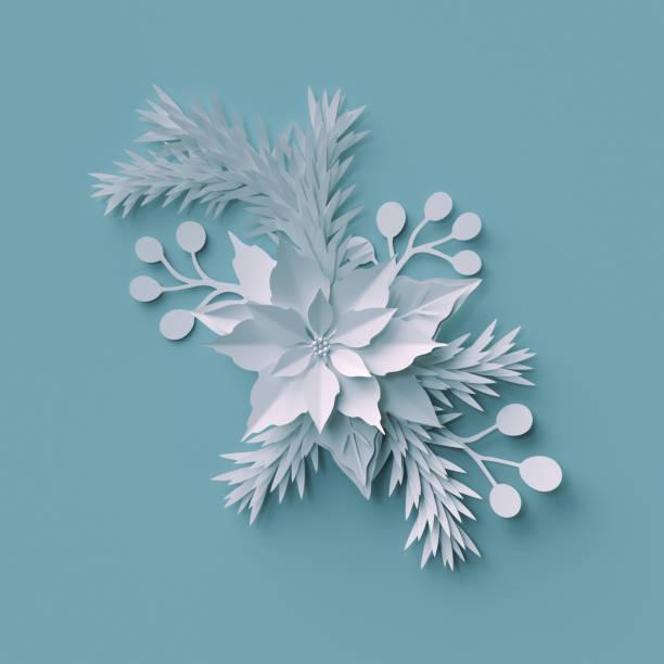 3d render, weihnachten hintergrund, weißes papier blumen-arrangement, festliche elemente, urlaub dekoration, grußkarte - weihnachtssterne aus papier stock-fotos und bilder