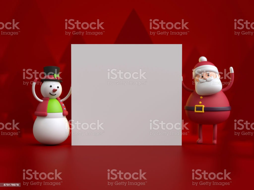 3d render, christmas characters, Snowman and Santa Claus holding blank card, white page, copy space, empty banner stock photo