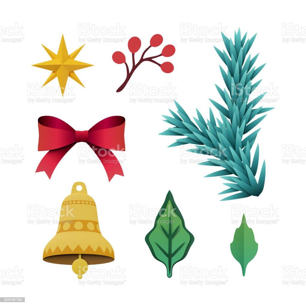 Weihnachten Clipart Bilder.3d Render Weihnachten Flache Objekte Festliche Papier Clipart Urlaub