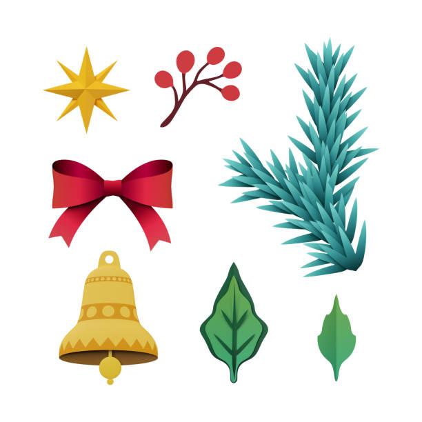 3d render, weihnachten flache objekte, festliche papier clipart urlaub dekoration design-elemente, isoliert auf weißem hintergrund - weihnachtssterne aus papier stock-fotos und bilder