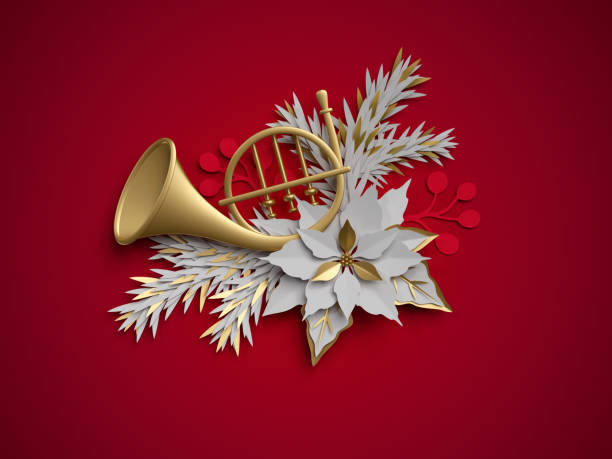 3d 렌더링, 크리스마스 꽃 장식, 프랑스 호른, 악기, 포 인 세 티아 꽃, 빨간 배경에 고립 된 평면 종이 공예 클립 아트 - 프렌치 호른 뉴스 사진 이미지