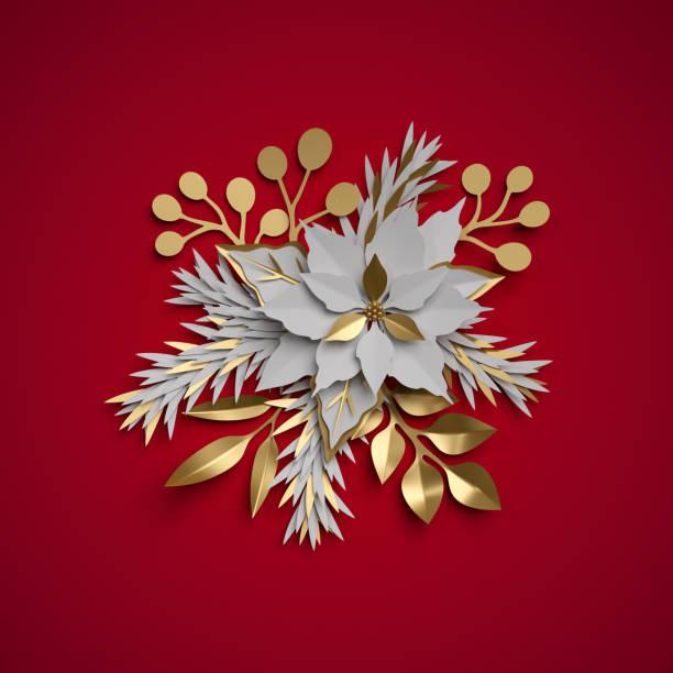 3d render, weihnachten blumen, festliches bouquet, weihnachtsstern, flache papier handwerk clipart auf rotem hintergrund isoliert - weihnachtssterne aus papier stock-fotos und bilder