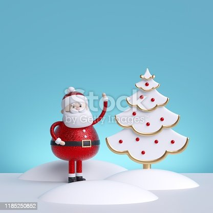 3d render. Christmas greeting card template with Santa Claus and christmas fir tree, isolated on blue background. Winter holiday illustration.