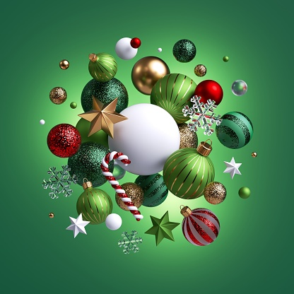 3d render, Christmas holiday ornaments levitate. Red green white glass balls, candy cane, golden stars, crystal snowflakes isolated on green background. Arrangement of levitating objects
