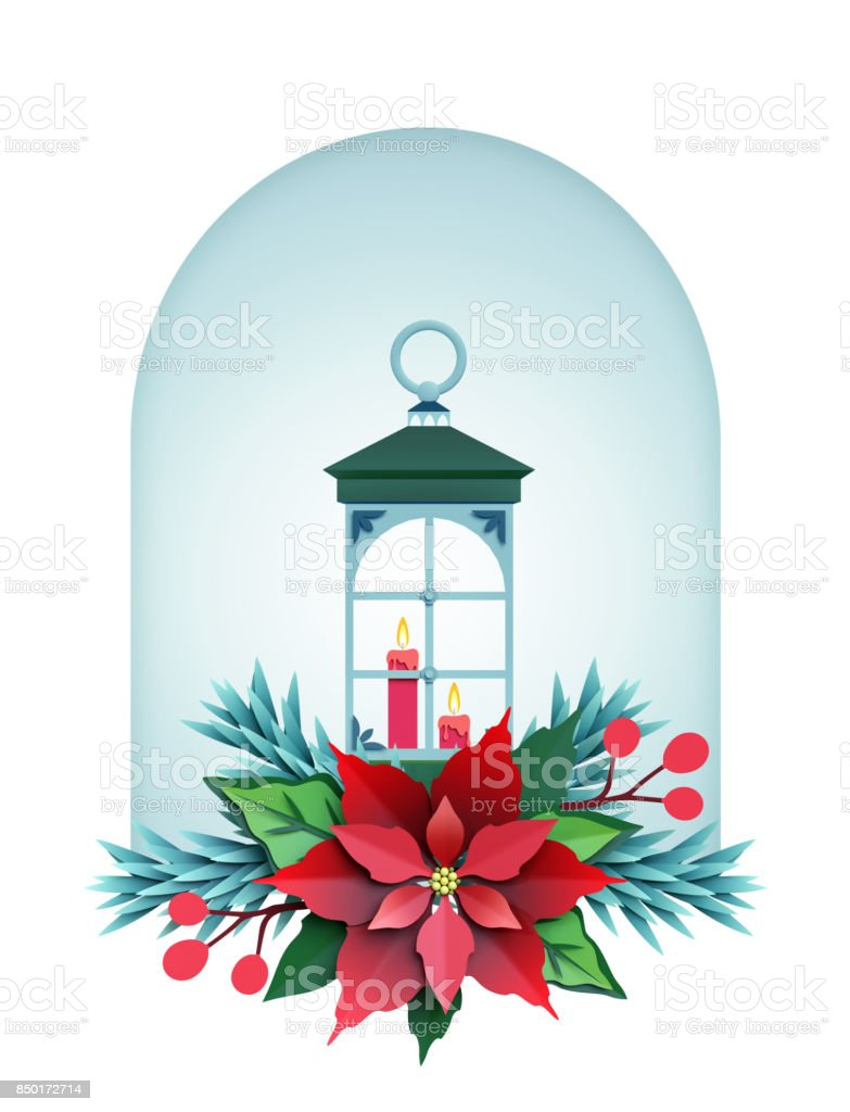 3d render christmas lantern isolated on white background paper cut festive elements