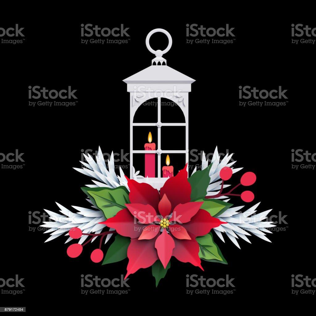 3d Render Christmas Lantern Poinsettia Flower Paper Cut Decoration