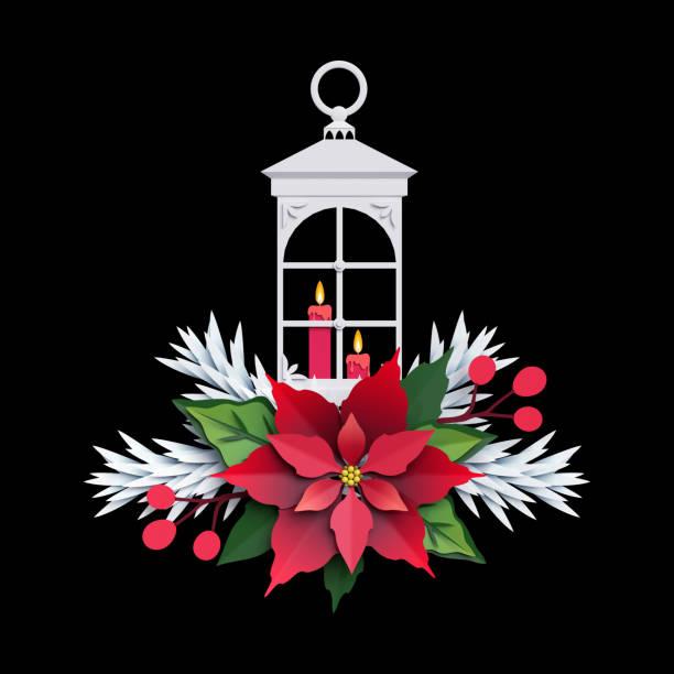 3d render, weihnachten laterne, weihnachtsstern blume, papier geschnittenen dekoration, verzierung, urlaub cliparts auf schwarzem hintergrund isoliert - weihnachtssterne aus papier stock-fotos und bilder