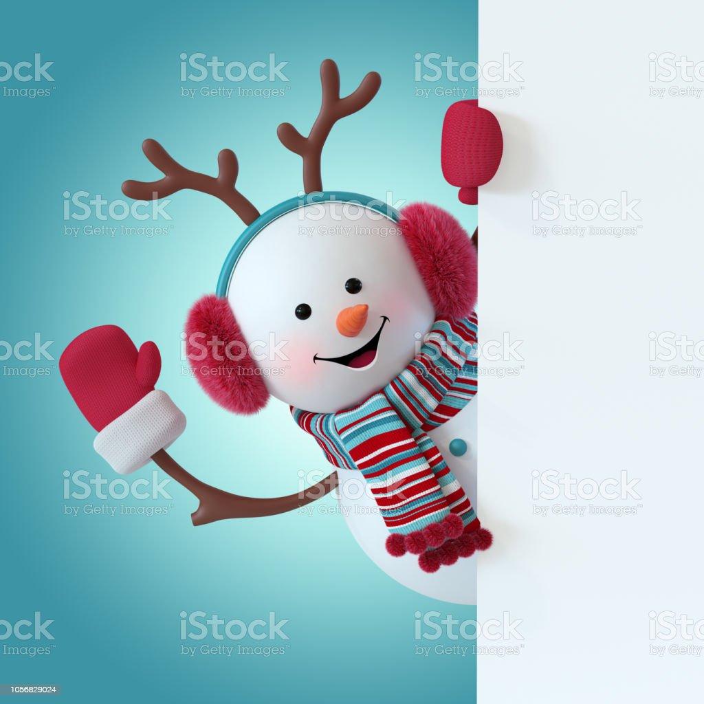 dd0e3dae8d74c 3d Render Christmas Snowman Character Furry Headphones Reindeer ...