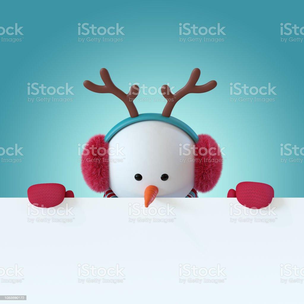 0949d4aa853fa 3d Render Christmas Snowman Character Looking Down Furry Headphones ...