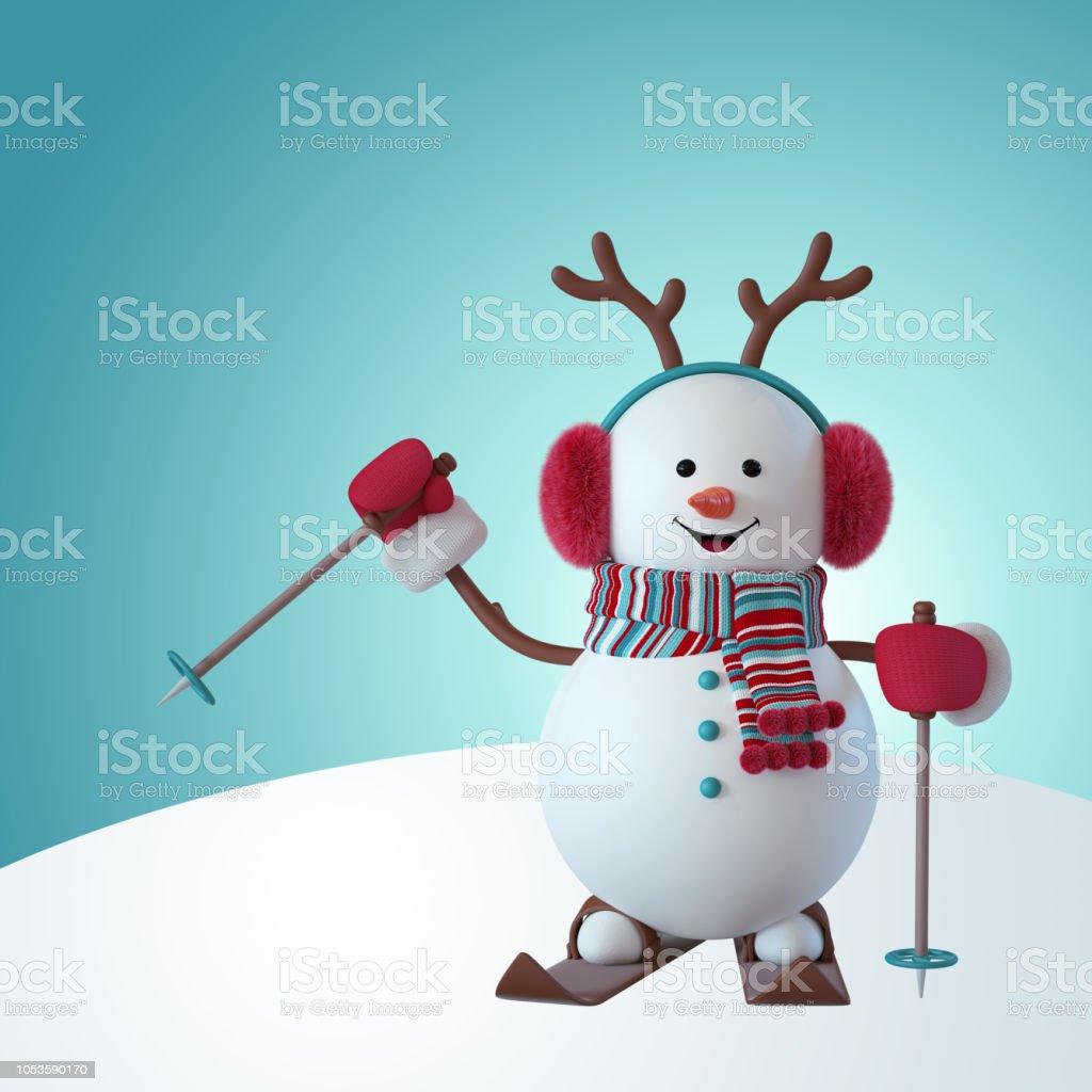 3d Render Weihnachten Schneemann Charakter Skifahren