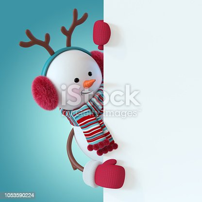 istock 3d render, christmas snowman character, wearing furry headphones, reindeer antler, scarf, holding blank banner, greeting card template, space for text, winter holiday clip art, funny toy, illustration 1053590224