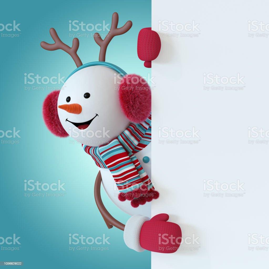 5b5b199b0eebd 3d Render Christmas Snowman Character Wearing Furry Headphones ...