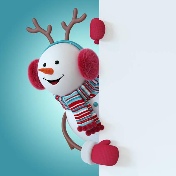 3d rendern, weihnachten schneemann charakter tragen, pelzigen kopfhörer, rentier-geweih, schal, hält leere banner, grußkartenvorlage, raum für text, winter-urlaub-clipart-grafiken, lustiges spielzeug, illustration - cartoon kostüme stock-fotos und bilder