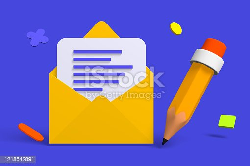 3d render classic envelope with letter icon for word delivery. Isometric concept web symbol for communication and relationship. Low poly. illustration.