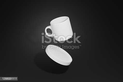 3d render coffee mug tea or ceramic cup hot drink cup blank with isolated background for label mockup.