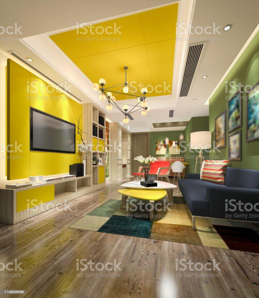 Photo libre de droit de 3d Rendu Coloré Salon Moderne banque ...
