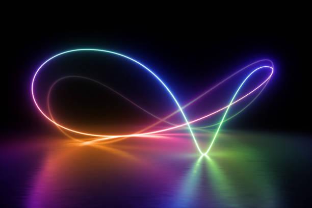 3d 렌더링, 화려한 네온 빛 스펙트럼, 루프, 자외선, 양자 에너지, 핑크 블루 바이올렛 빛나는 라인, 문자열, 추상적인 배경 - 자외선 차단 뉴스 사진 이미지