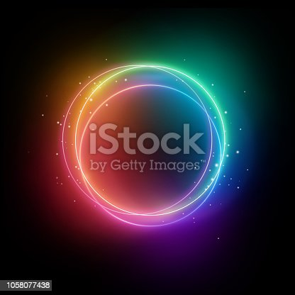 1058076636istockphoto 3d render, colorful neon lights, sparkling round frame, blank space for text, ultraviolet spectrum, ring symbol, halo, isolated on blank background 1058077438