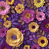 istock 3d render, colorful paper flowers, fashion wallpaper, rose, dahlia, peony, purple yellow pink, botanical elements on violet background, decorative papercraft, digital illustration 993082126