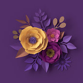 istock 3d render, colorful paper flowers, festive bouquet, greeting card, fashion wallpaper, rose, dahlia, peony, leaves, purple yellow pink, botanical elements on violet background, decorative paper craft 993082104