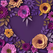 istock 3d render, colorful paper flowers, heart shape greeting card, romantic wallpaper, rose, dahlia, peony, leaves, purple yellow pink, botanical elements on violet background, decorative papercraft 993082036