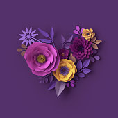 istock 3d render, colorful paper flowers, heart shape greeting card, romantic wallpaper, rose, dahlia, peony, leaves, purple yellow pink, botanical elements on violet background, decorative papercraft 993082080