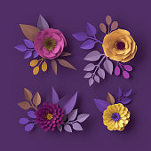 istock 3d render, colorful paper flowers, isolated clip art, fashion wallpaper, rose, dahlia, peony, purple yellow pink, botanical elements on violet background, decorative papercraft, digital illustration 993082044