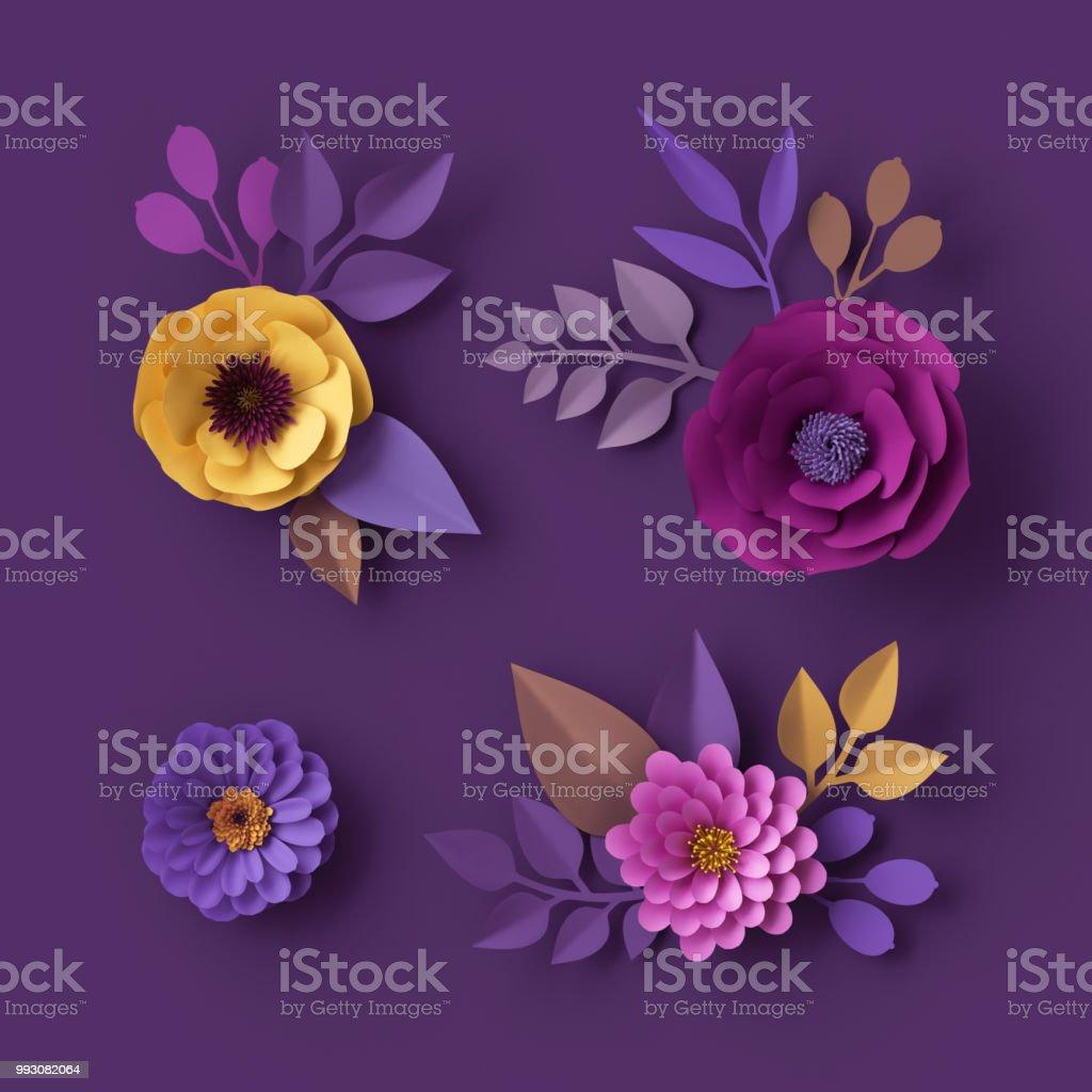 Fotografía De Render 3d Flores De Papel De Colores Aislado Clip Art