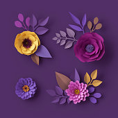 istock 3d render, colorful paper flowers, isolated clip art, fashion wallpaper, rose, dahlia, peony, purple yellow pink, botanical elements on violet background, decorative papercraft, digital illustration 993082064