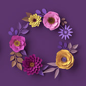 istock 3d render, colorful paper flowers, round wreath, greeting card, fashion wallpaper, rose, dahlia, peony, leaves, purple yellow pink, botanical elements on violet background, decorative paper craft 993081952