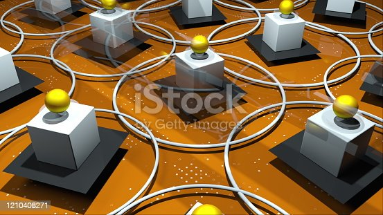 451823313 istock photo 3d render complex realistic composition from various geometric primitive objects. Computer generated rotating rings, platforms, balls, cubes. Isometric background 1210408271