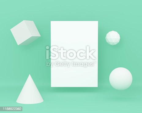 istock 3d render composition with geometric elements, Paper A4 on green colour pastel background. 1158522362