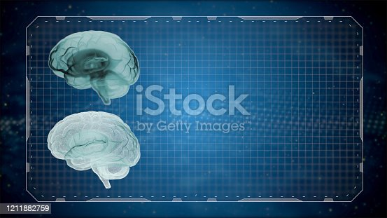 667379952 istock photo 3d render computed medical tomography MRI scan of human brain over gridded dark background. 1211882759