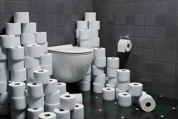 3d render: Concept Hoarding of Toilet paper because of corona crisis or other events. stock photo