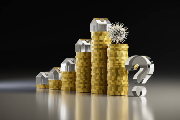 3d render: Concept: is the extreme rise of housing prices over because of the corona crisis? Rising stacks of Euro coins topped with model houses. Falling stack topped with corona virus. Question mark stock photo