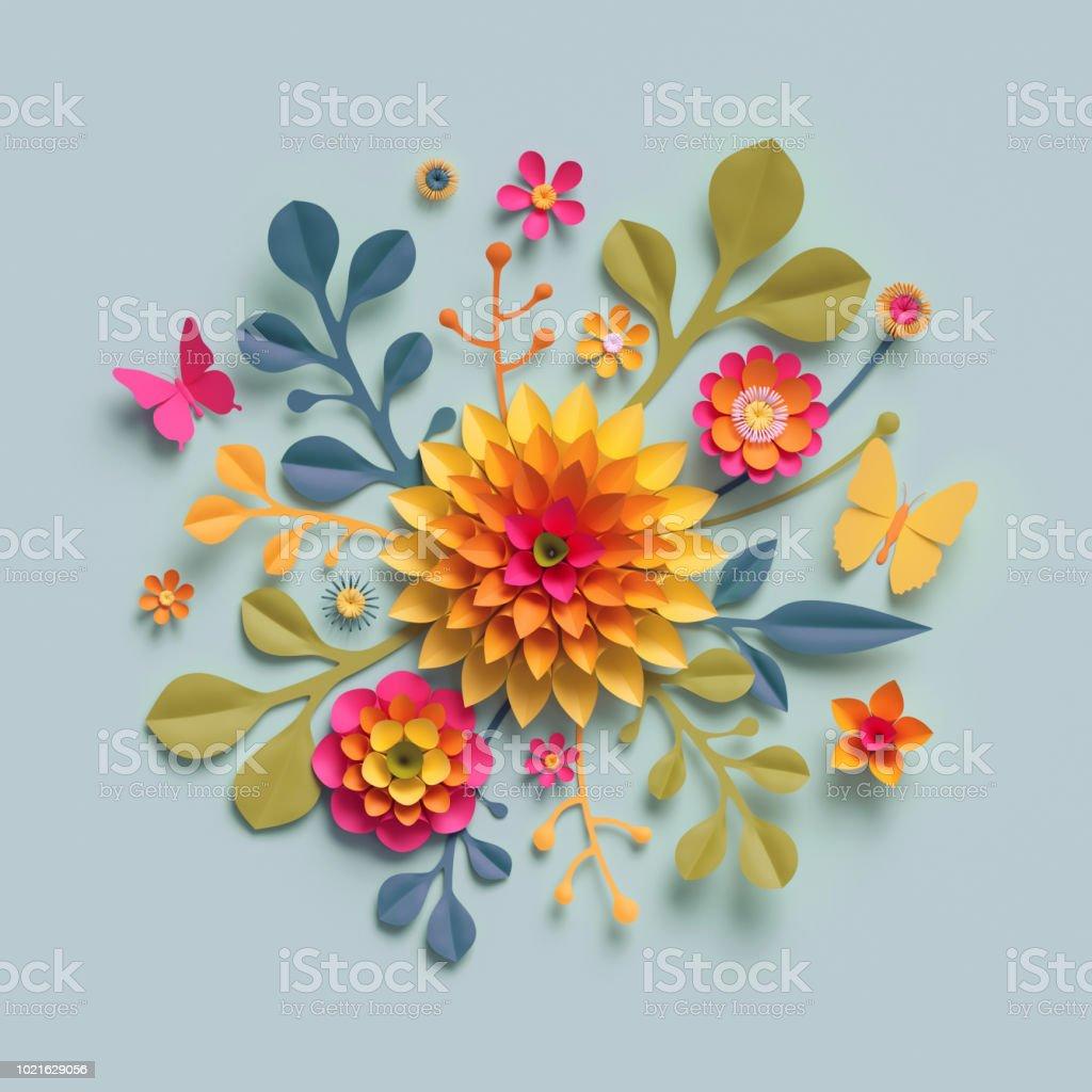 3d Render Craft Paper Flowers Fall Botanical Arrangement Festive
