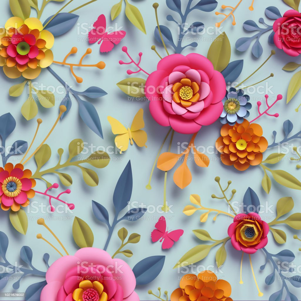 3d Render Craft Paper Flowers Fall Botanical Wallpaper