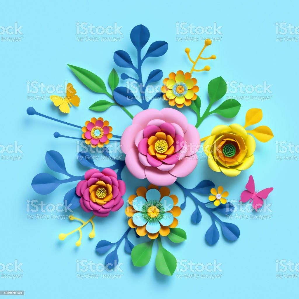 3d Render Craft Paper Flowers Festive Floral Bouquet Botanical