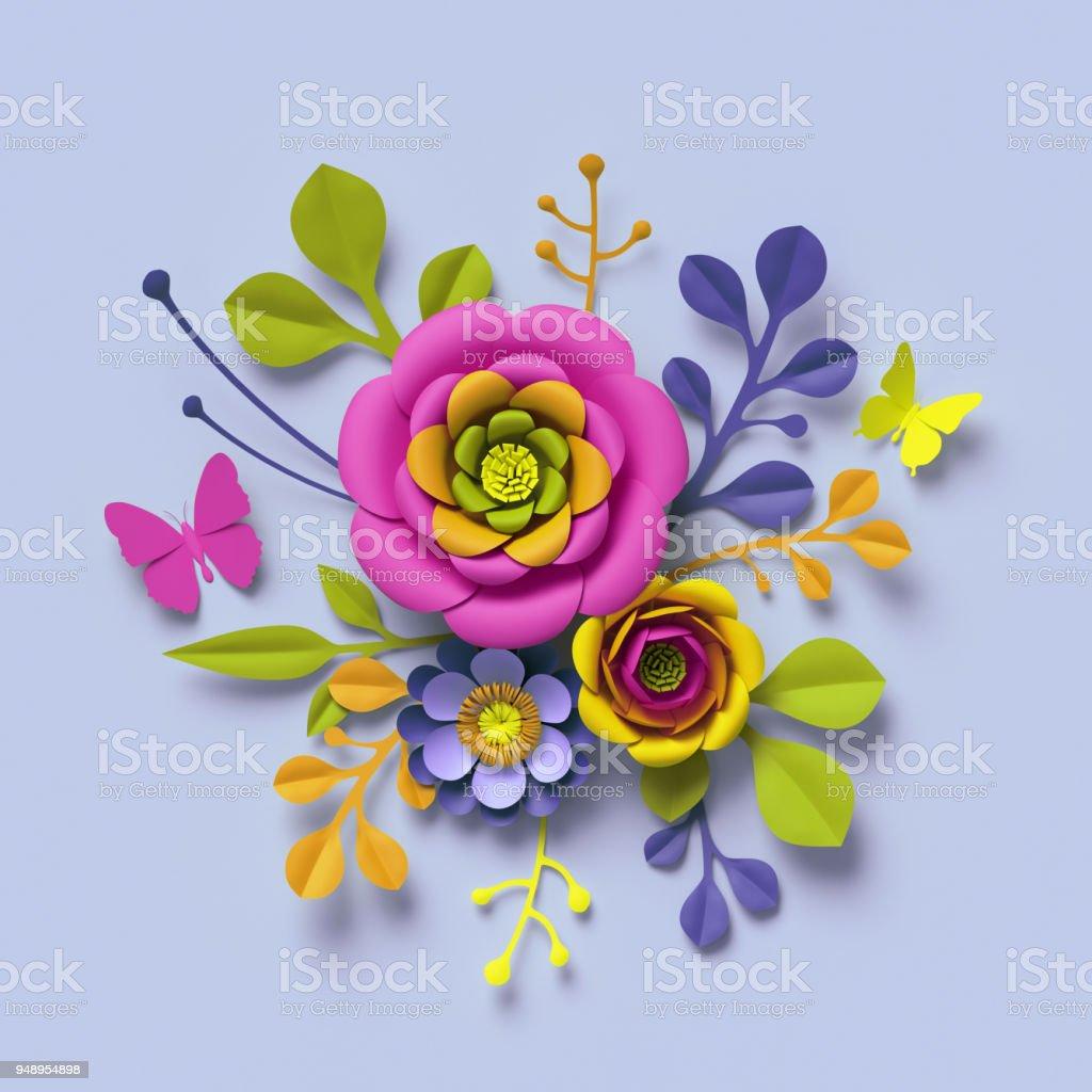 3d render craft paper flowers festive floral bouquet botanical 3d render craft paper flowers festive floral bouquet botanical arrangement bright candy izmirmasajfo